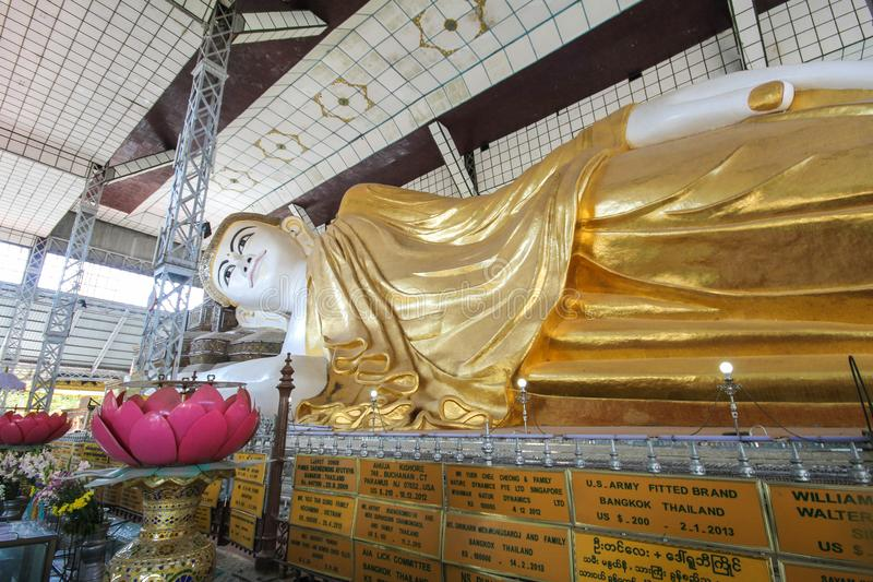 Shwethalyaung Reclining Buddha in Bago, Myanmar. Famous temple at Bago royalty free stock images
