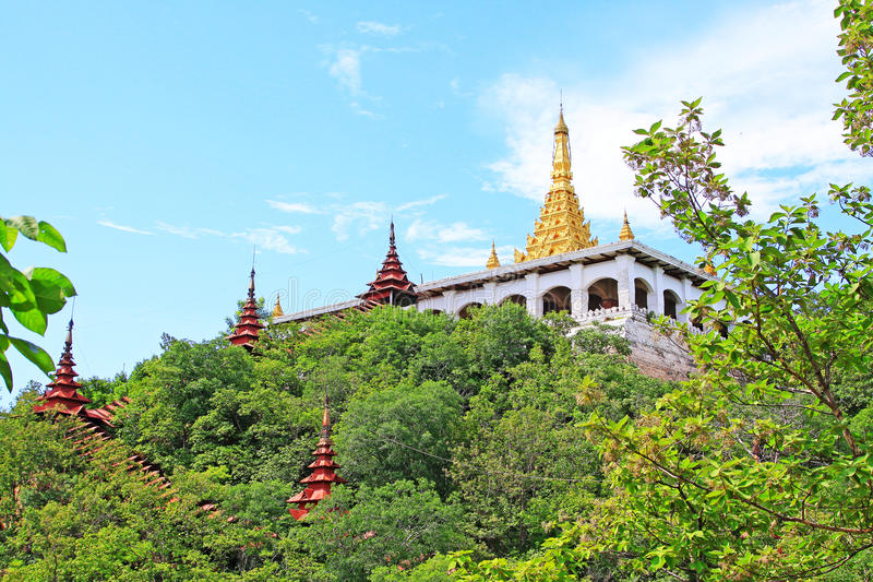 Shweyattaw Buddha Pavilion, Mandalay, Myanmar. Shweyattaw Buddha Pavilion is located on the middle of the Mandalay Hill royalty free stock images