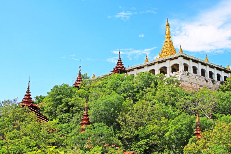 Shweyattaw Buddha Pavilion, Mandalay, Myanmar. Shweyattaw Buddha Pavilion is located on the middle of the Mandalay Hill royalty free stock photography