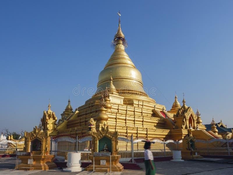 Shwezigon Paya pagoda Landmark Temple historical Architecture in Bagan Myanmar. Travel Asia stock images