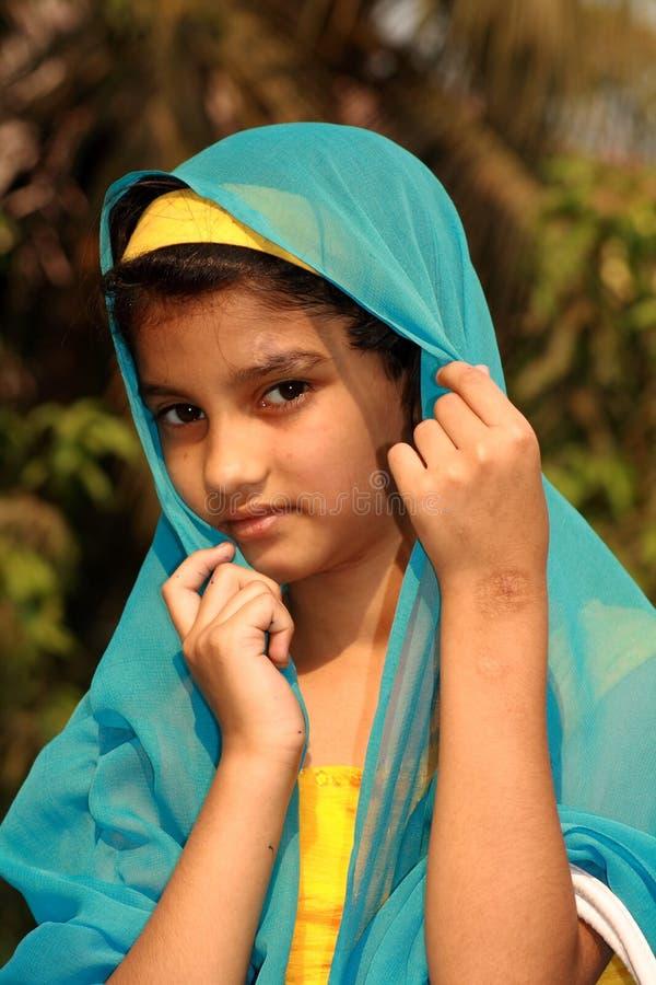 Shy Asian girl in sari stock photo. Image of foliage ...