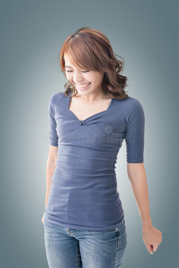 Shy Asian girl smiling. Closeup portrait stock photos