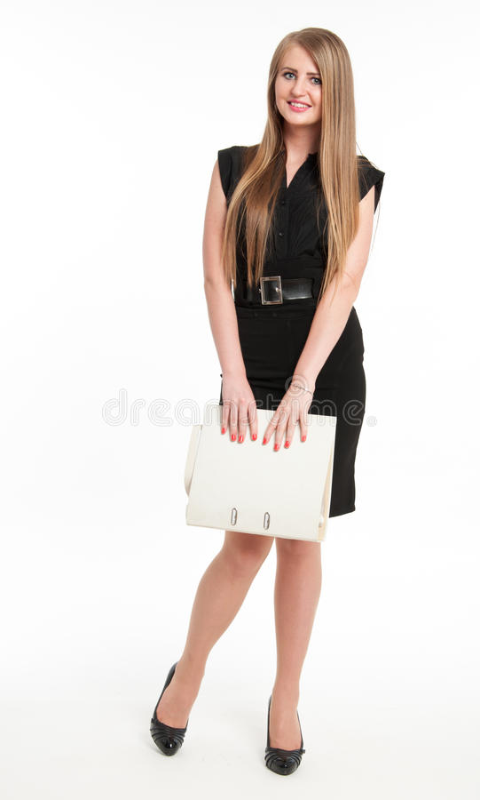 Download Shy Businesswoman With File Stock Photo - Image: 32705304