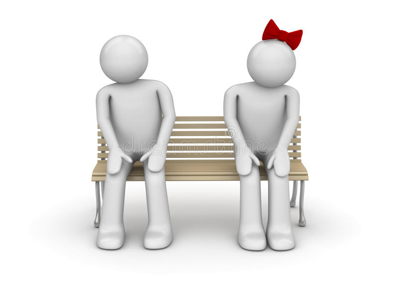 Shy couple on a bench stock photography