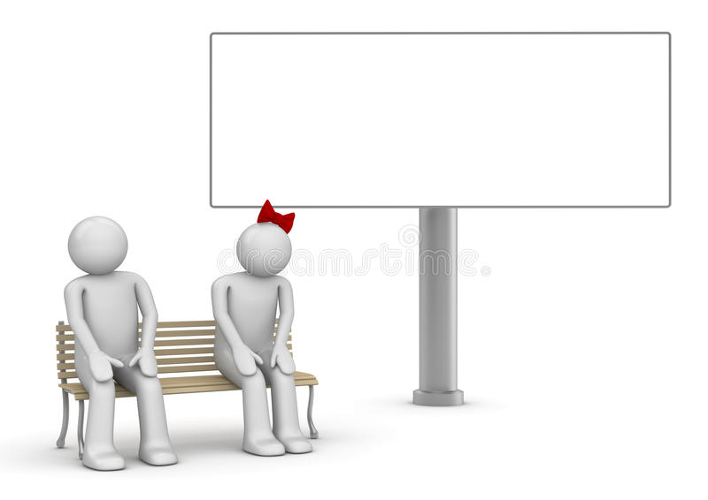 Shy couple on a bench with copyspace stock image