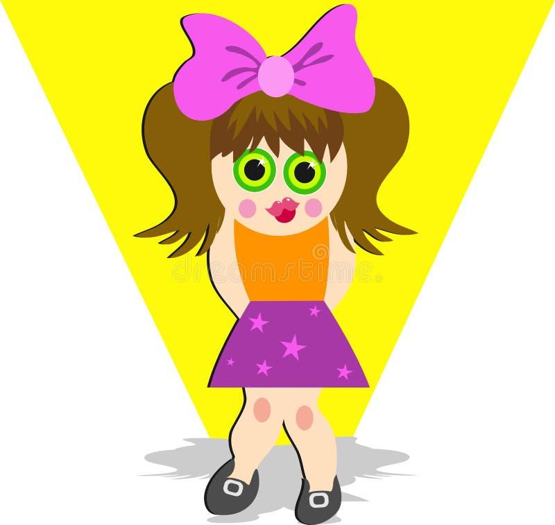 Shy Girl vector illustration