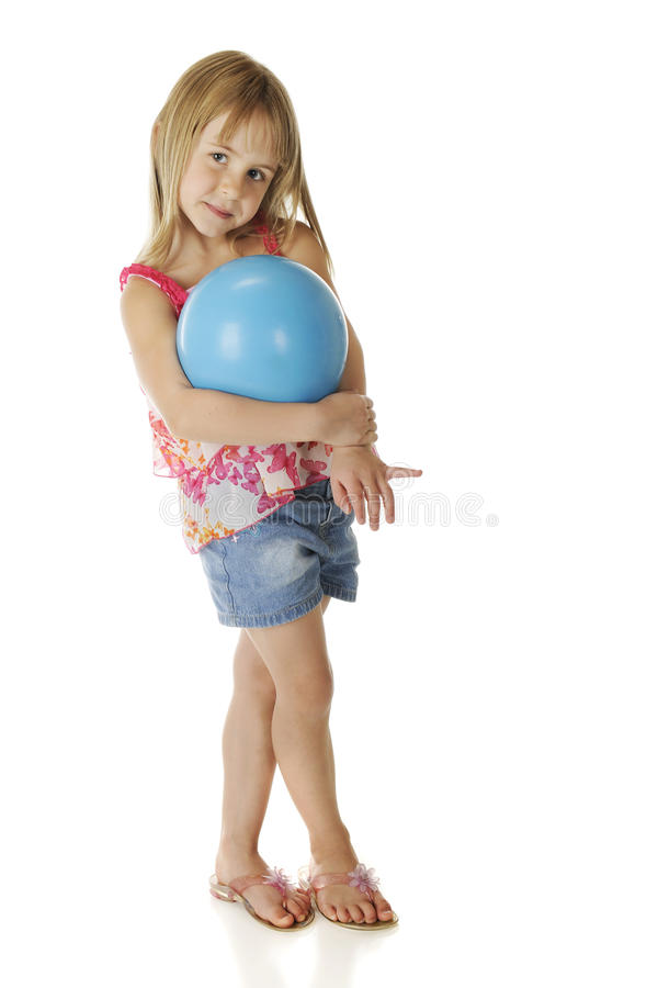 Shy Girl With Ball Stock Images