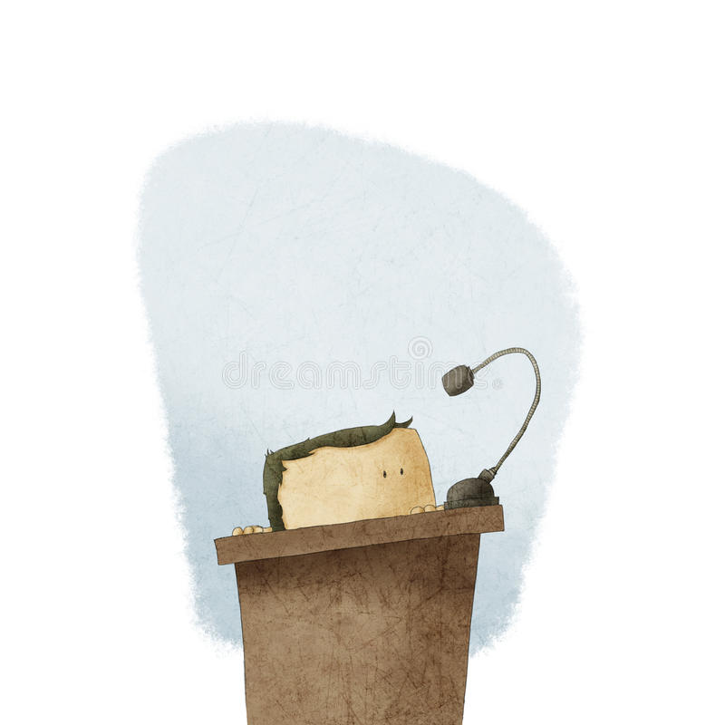 Shy man at the podium giving speech stock illustration
