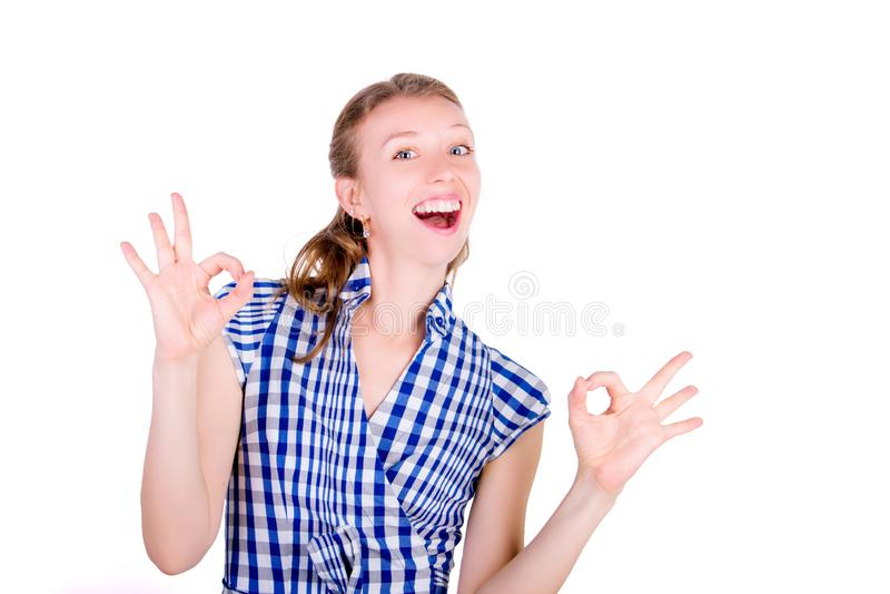 Portrait of comic joyful woman female stock image