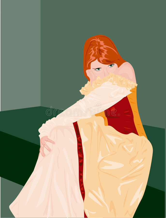 Shy princess. Cartoon illustration of shy princess with red hair sat in room royalty free illustration