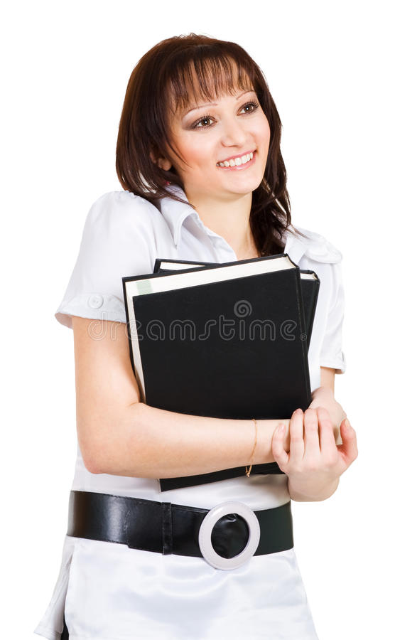 Shy smiling student stock photos