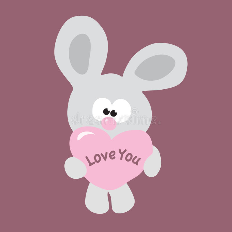 Shy Valentine Bunny vector illustration