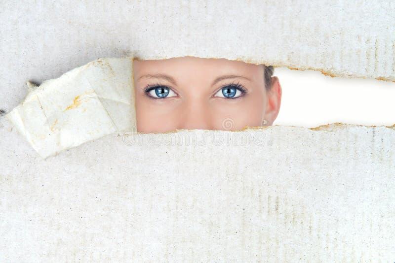 Shy woman, hidden beauty royalty free stock image