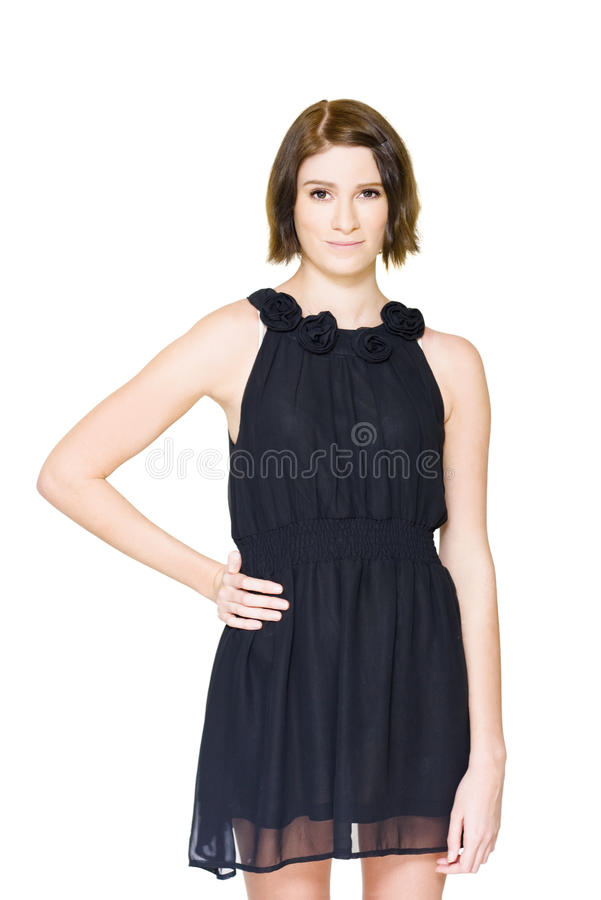 Download Shy Woman Trying On Black Formal Evening Outfit Stock Photo - Image of fashion, evening: 24640030