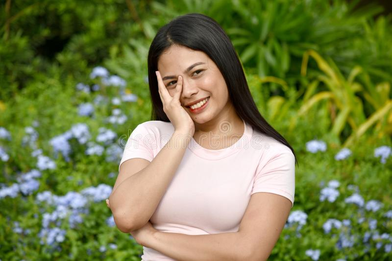 Shy Youthful Filipina Woman. An attractive and asian person royalty free stock image