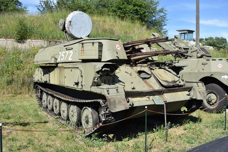 Shylka för ` ZSU-23-4 ` är ett lätt bepansrat sovjetiskt självgående, det radar vägledde anti--flygplan vapensystemet SPAAG royaltyfria bilder