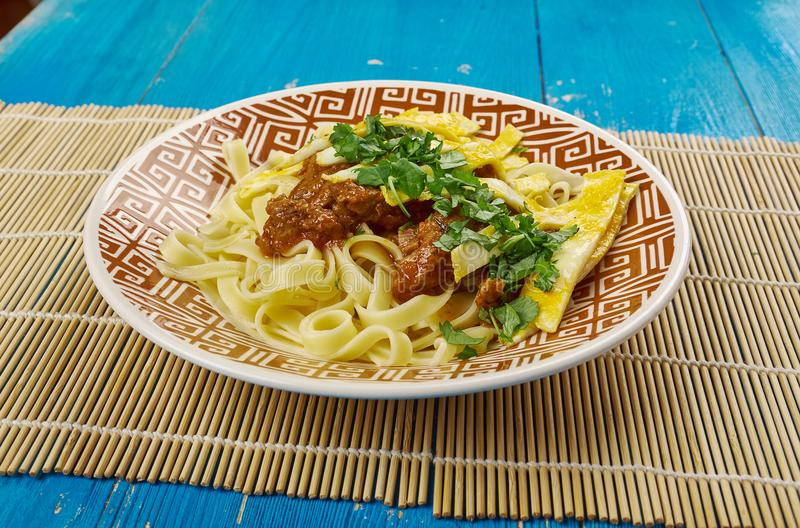 Tajik dish with noodles. Shyma - Tajik dish with noodles, Central Asian cuisine stock image
