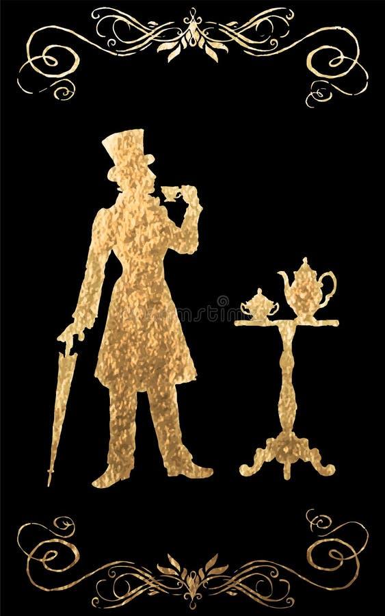 Siècle XIX Feuille d'or illustration libre de droits