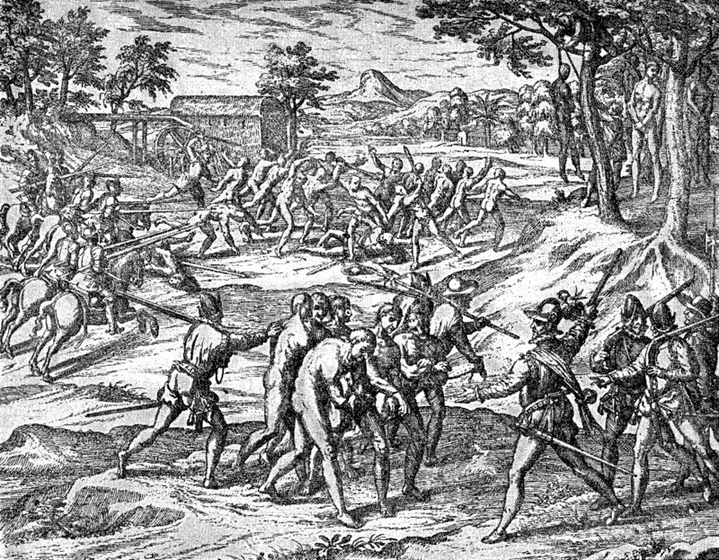 Siècle XVI : Les soldats espagnols pendent des aborigènes d'Inca illustration stock