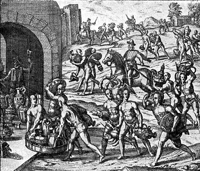 Siècle XVI : rançon d'or pour libérer l'empereur Atauhalpa illustration libre de droits