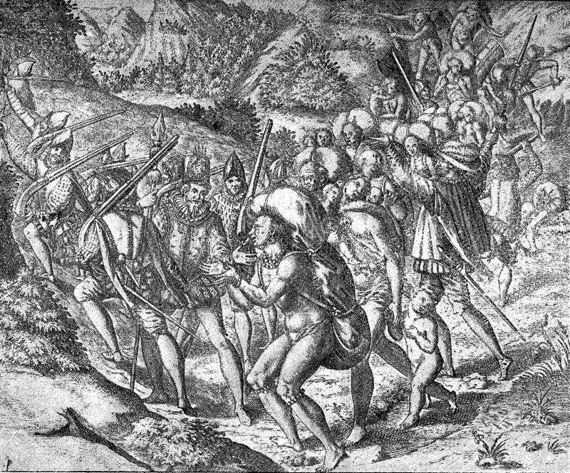 Siècle XVI : Soldats espagnols avec des esclaves d'aborigènes illustration libre de droits