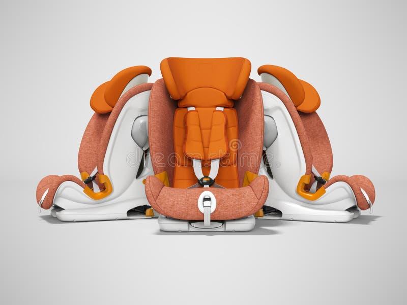Siège de voiture orange trois morceaux de la vue de face 3d rendre sur le fond gris avec l'ombre illustration de vecteur