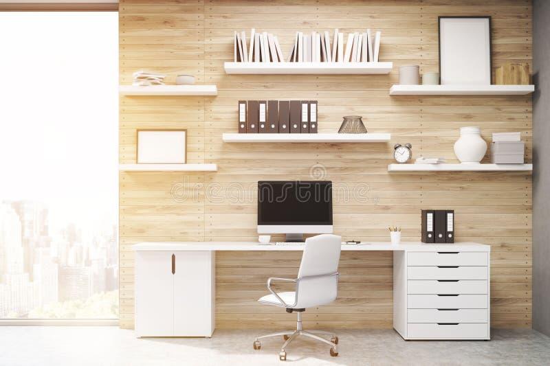 Siège social avec les panneaux en bois légers, modifiés la tonalité illustration de vecteur