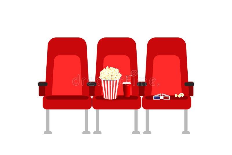 Sièges de cinéma dans un film avec le maïs éclaté, les boissons et les verres Le cinéma plat de bande dessinée de vecteur pose l' illustration libre de droits