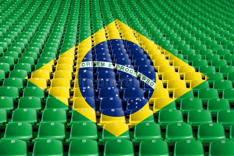 Sièges de stade de drapeau du Brésil Concept de compétition sportive image libre de droits