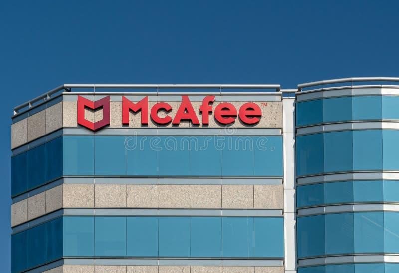 Sièges sociaux d'entreprise de McAfee images stock