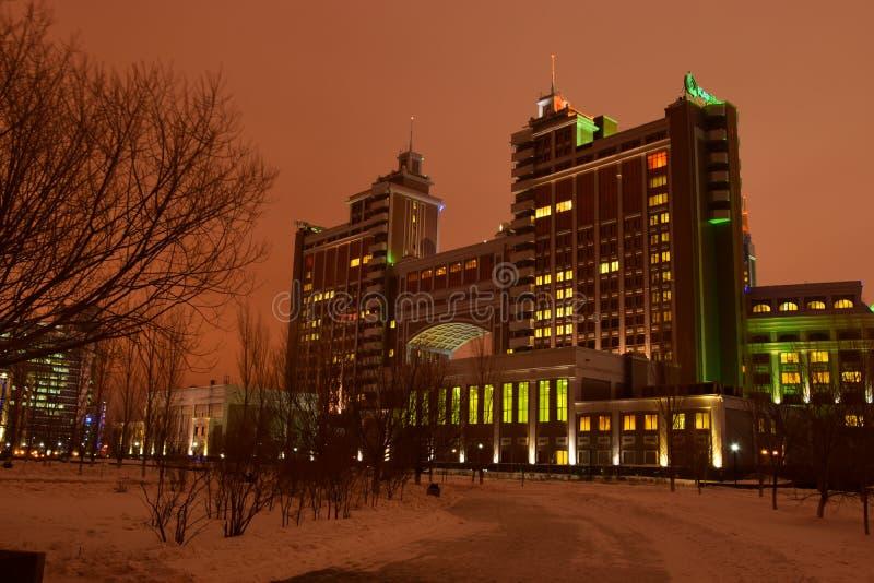 Sièges sociaux de compagnie KazMunaiGaz à Astana photographie stock libre de droits