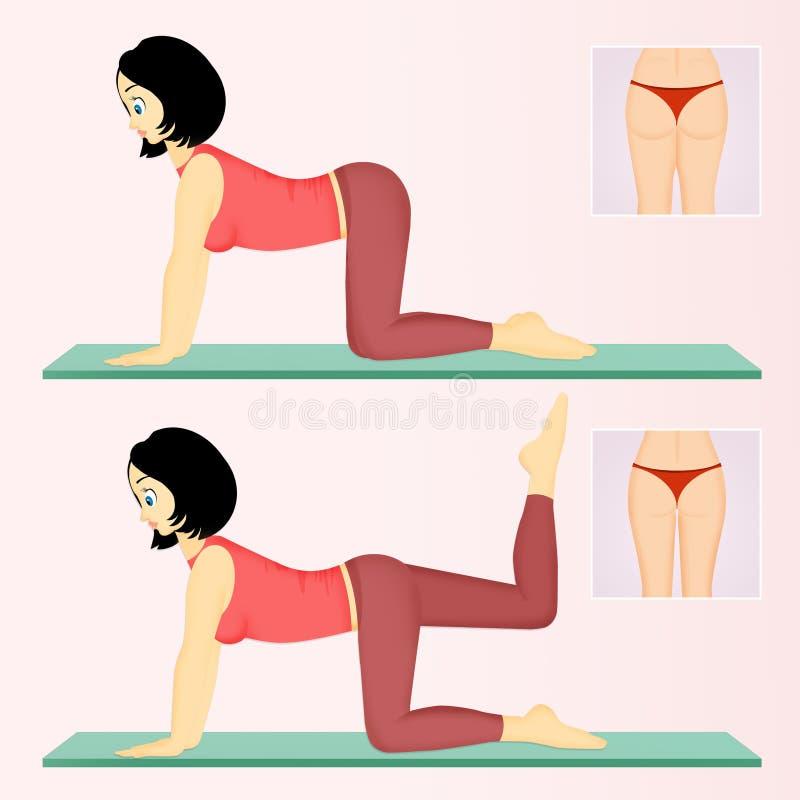 Siéntese difícilmente con ejercicios simples stock de ilustración