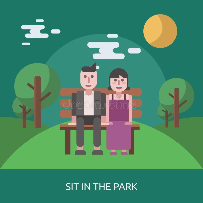 Siéntese en el diseño conceptual del parque stock de ilustración