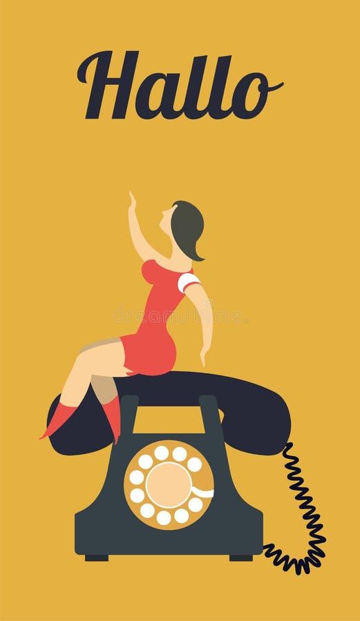 Siéntese en el teléfono ilustración del vector