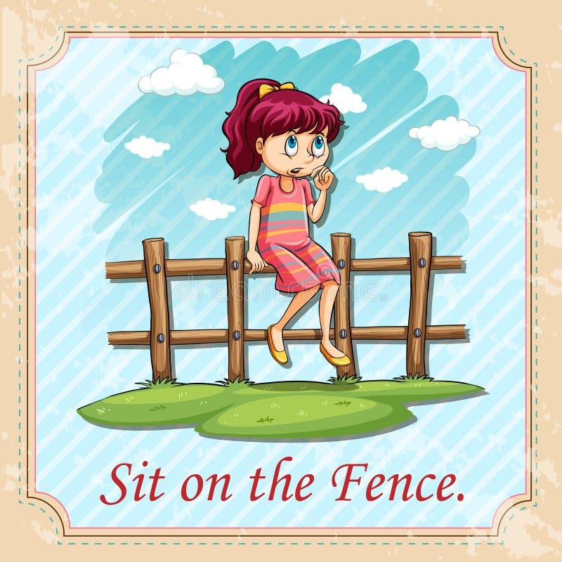 Siéntese en la cerca stock de ilustración