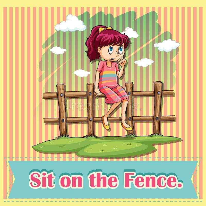 Siéntese en la cerca ilustración del vector