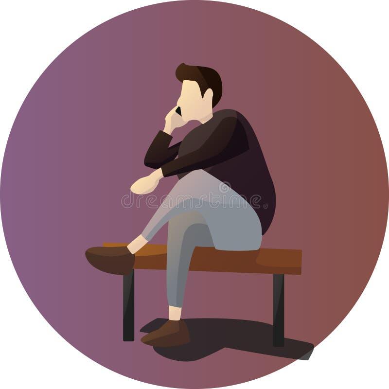 Siéntese mientras que carácter de la actitud de la llamada stock de ilustración