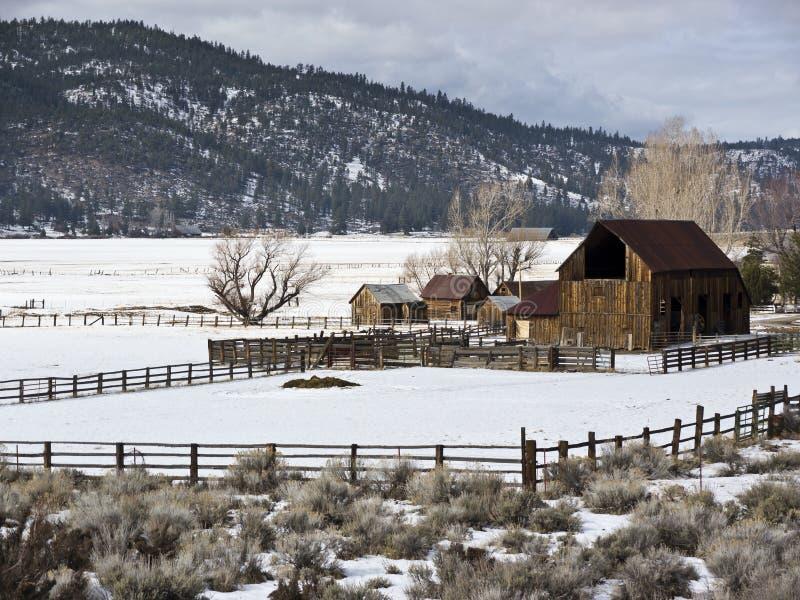 Siërra de boerderij van de Vallei in de Winter stock afbeeldingen
