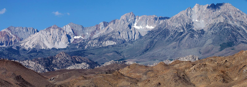 Siërra Nevada Mountains buiten het Nationale Park van Yosemite stock fotografie