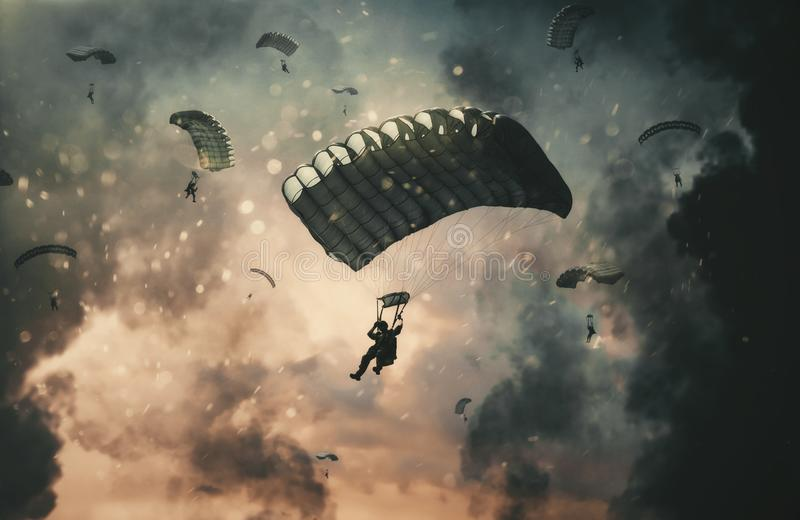Siłą wojskowa z spadochronem między dymem w niebie zdjęcie stock