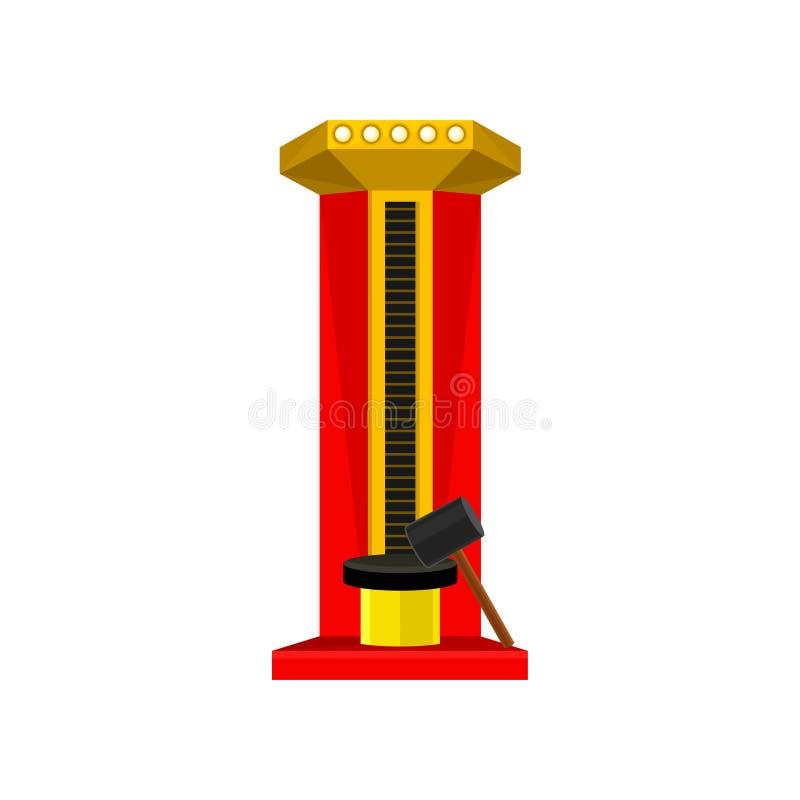 Siła tester lub siłacz gemowa maszyna Wysoki strajkowicza przyciąganie z dużym młotem Płaski wektorowy element dla promo ulotki ilustracja wektor