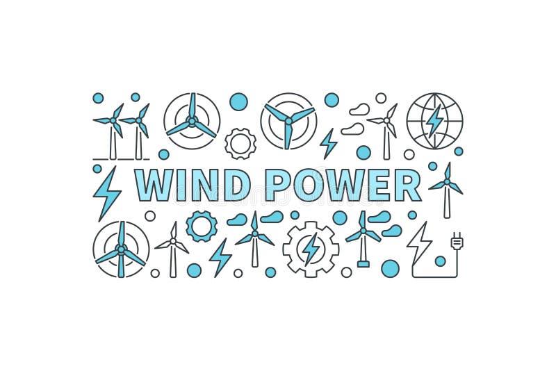 Siła wiatru kreatywnie sztandar royalty ilustracja
