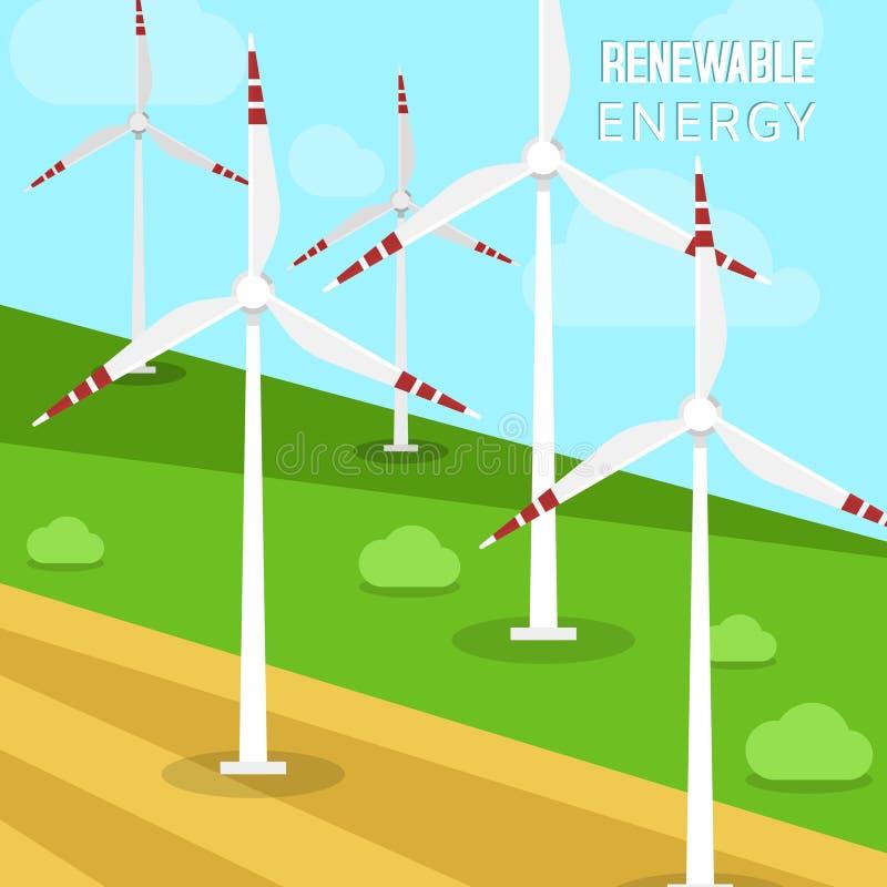 Siła wiatru wiatraczków i turbin wektoru ilustracja Krajobraz który przekształcać z greenfields i turbinami ilustracji