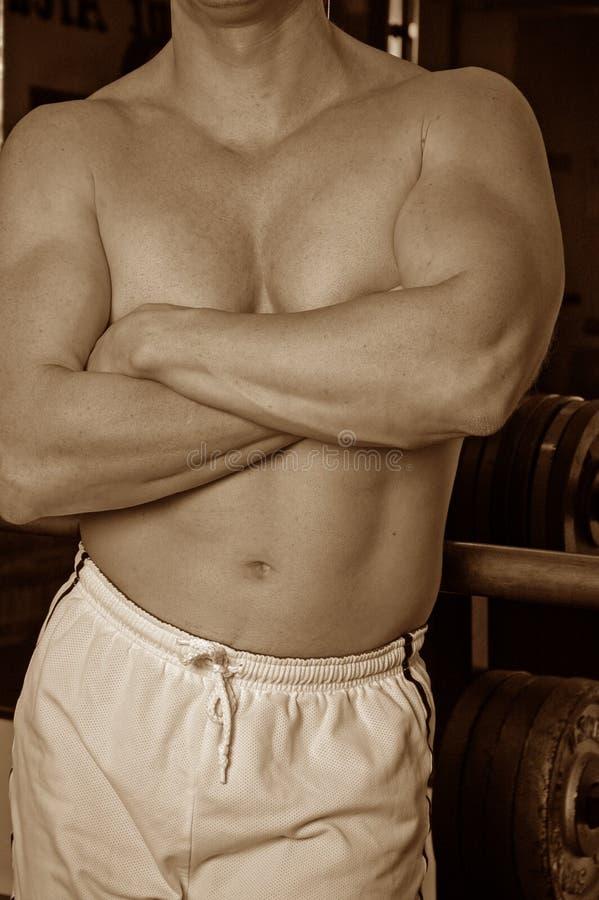 siłownia sepiowy faceta zdjęcia stock