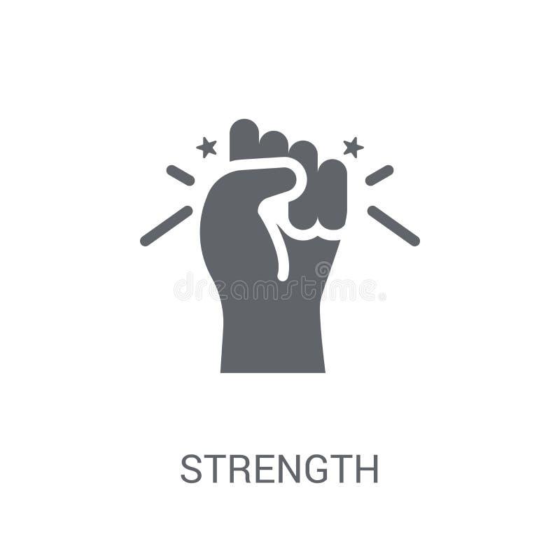 Siły ikona Modny siła logo pojęcie na białym tle royalty ilustracja