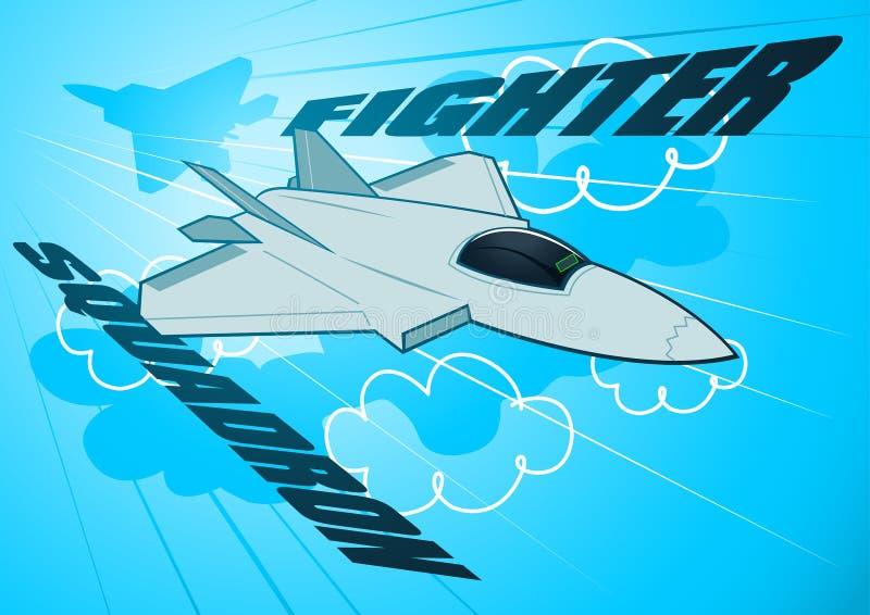 Siły powietrzne myśliwa odrzutowego eskadra w niebie royalty ilustracja