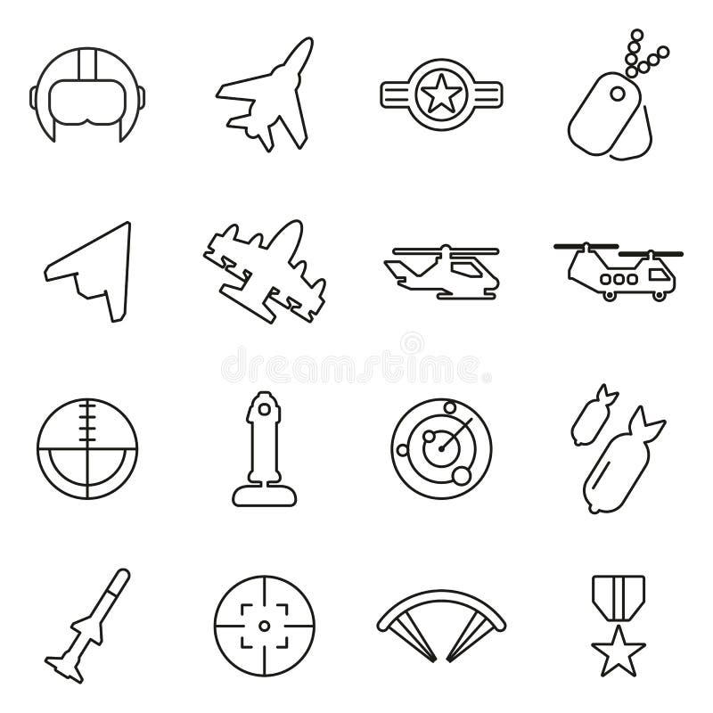 Siły Powietrzne, wojskowego lub wojska ikony Cienieją Kreskowego Wektorowego ilustracja set ilustracja wektor