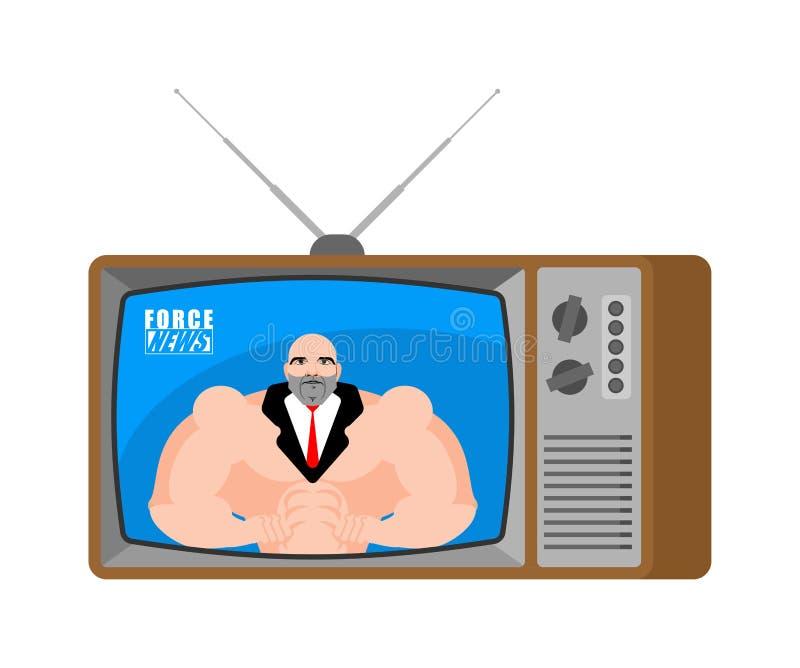 Siły wiadomość stary TV Bodybuilder nadawczy dziennikarz Sportsma royalty ilustracja