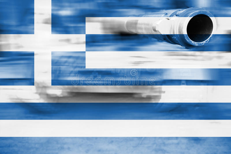 Siły wojska temat, ruch plamy zbiornik z Grecja flaga fotografia royalty free