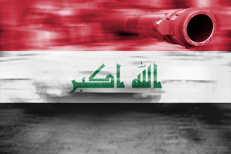 Siły wojska temat, ruch plamy zbiornik z Irak flaga zdjęcie royalty free